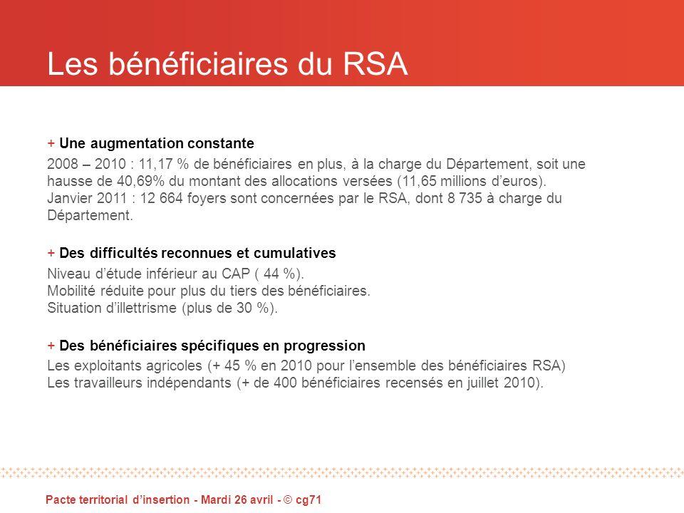 Les bénéficiaires du RSA Pacte territorial dinsertion - Mardi 26 avril - © cg71 + Une augmentation constante 2008 – 2010 : 11,17 % de bénéficiaires en plus, à la charge du Département, soit une hausse de 40,69% du montant des allocations versées (11,65 millions deuros).