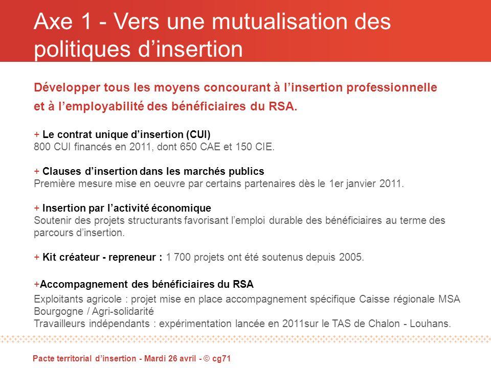 Axe 1 - Vers une mutualisation des politiques dinsertion Pacte territorial dinsertion - Mardi 26 avril - © cg71 Développer tous les moyens concourant à linsertion professionnelle et à lemployabilité des bénéficiaires du RSA.