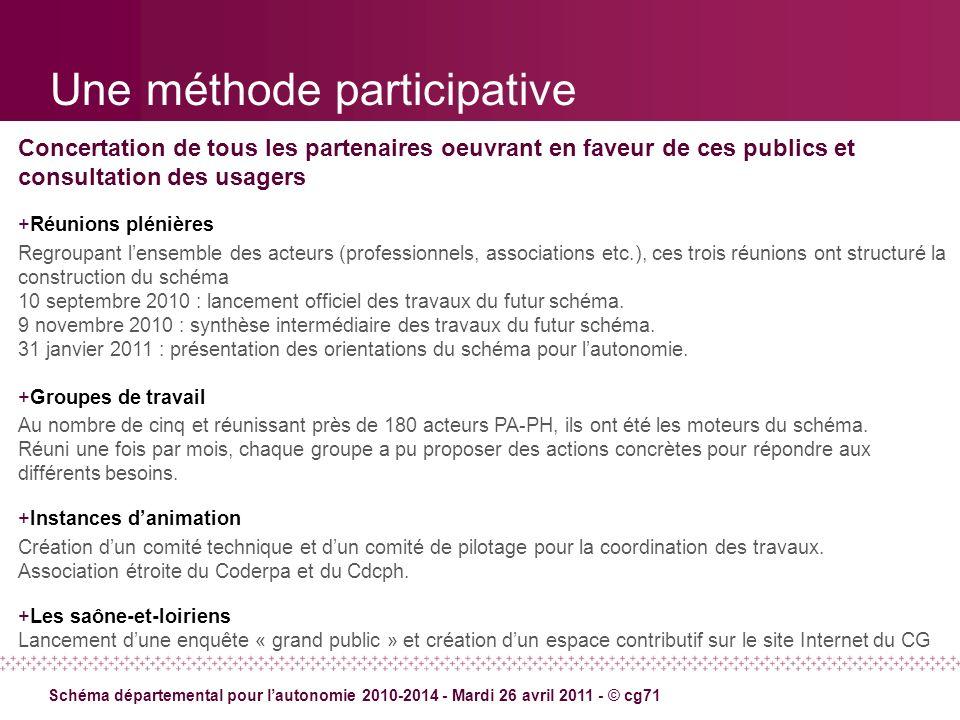 Une méthode participative Concertation de tous les partenaires oeuvrant en faveur de ces publics et consultation des usagers +Réunions plénières Regro