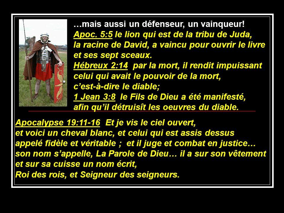 …mais aussi un défenseur, un vainqueur! Apoc. 5:5 le lion qui est de la tribu de Juda, la racine de David, a vaincu pour ouvrir le livre et ses sept s