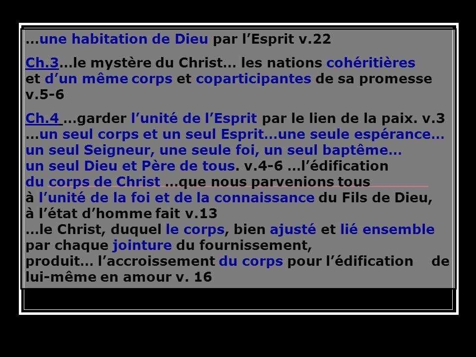 …une habitation de Dieu par lEsprit v.22 Ch.3…le mystère du Christ… les nations cohéritières et dun même corps et coparticipantes de sa promesse v.5-6
