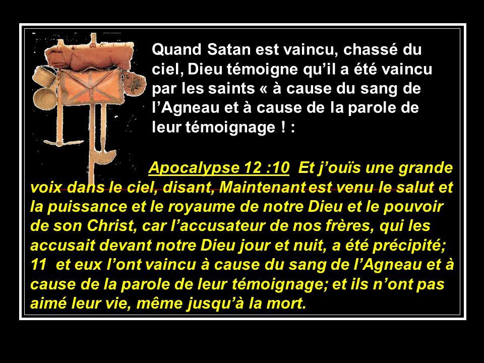Apocalypse 12 :10 Et jouïs une grande voix dans le ciel, disant, Maintenant est venu le salut et la puissance et le royaume de notre Dieu et le pouvoi