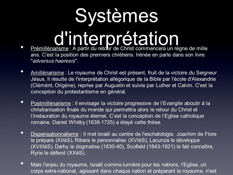 Systèmes d'interprétation Prémillénarisme : A partir du retour de Christ commencera un règne de mille ans. C'est la position des premiers chrétiens. I