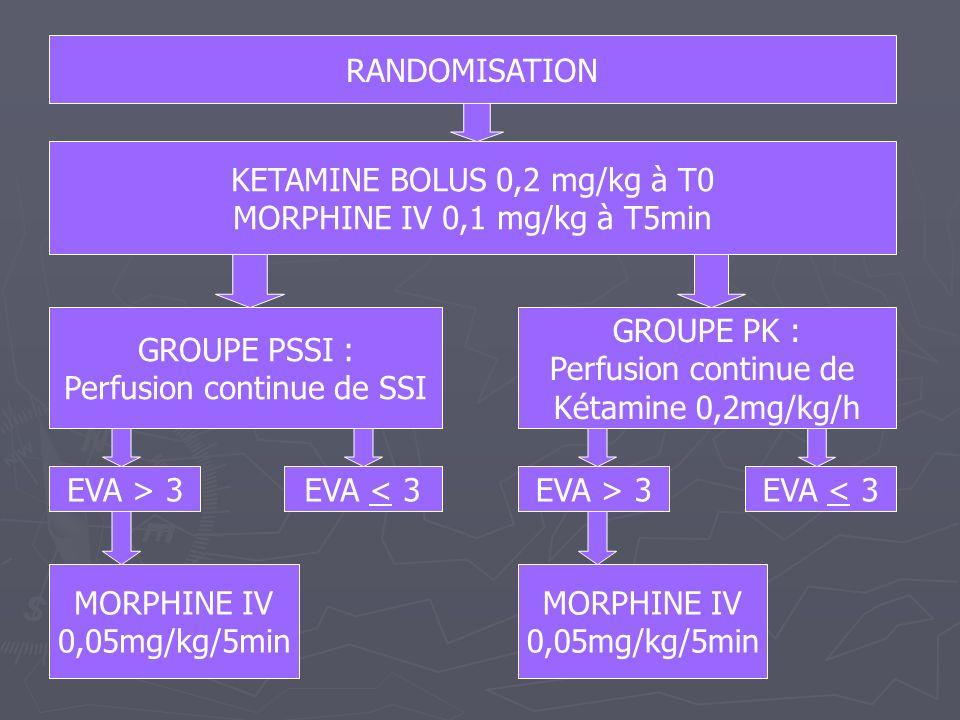 RANDOMISATION KETAMINE BOLUS 0,2 mg/kg à T0 MORPHINE IV 0,1 mg/kg à T5min GROUPE PSSI : Perfusion continue de SSI GROUPE PK : Perfusion continue de Ké