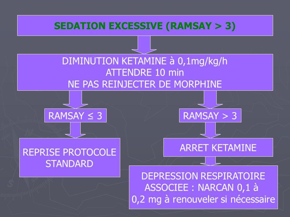 SEDATION EXCESSIVE (RAMSAY > 3) DIMINUTION KETAMINE à 0,1mg/kg/h ATTENDRE 10 min NE PAS REINJECTER DE MORPHINE RAMSAY 3RAMSAY > 3 REPRISE PROTOCOLE ST