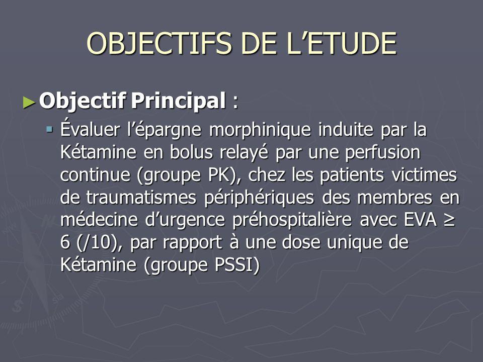 OBJECTIFS DE LETUDE Objectif Principal : Objectif Principal : Évaluer lépargne morphinique induite par la Kétamine en bolus relayé par une perfusion c