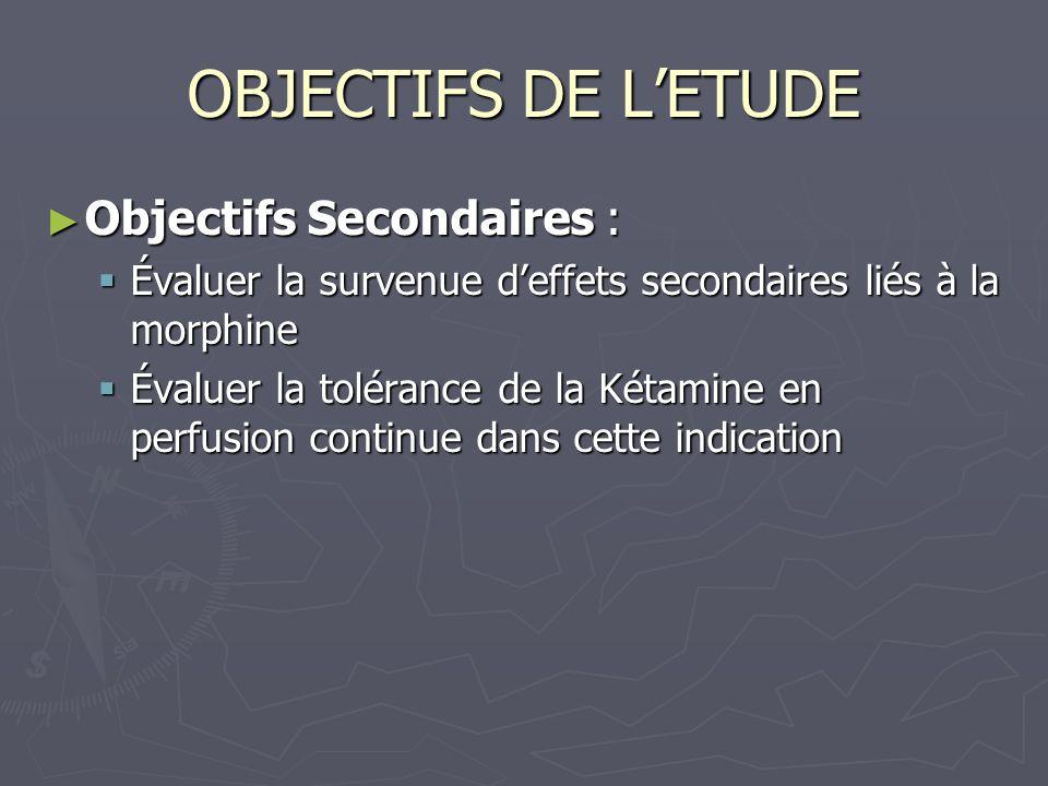 Objectifs Secondaires : Objectifs Secondaires : Évaluer la survenue deffets secondaires liés à la morphine Évaluer la survenue deffets secondaires lié