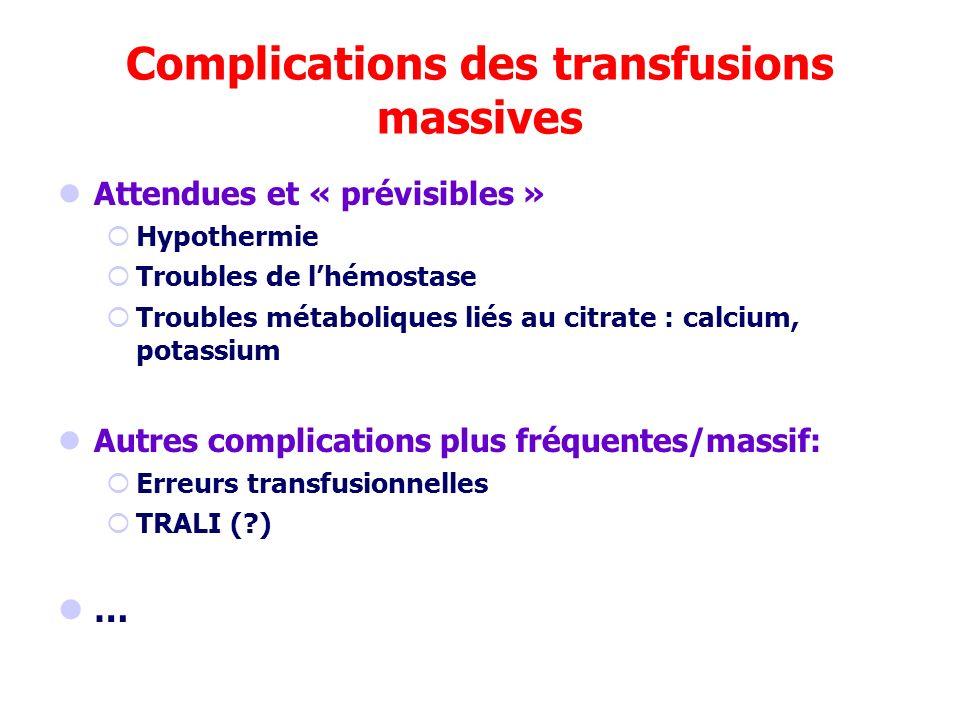 Complications des transfusions massives Attendues et « prévisibles » Hypothermie Troubles de lhémostase Troubles métaboliques liés au citrate : calciu