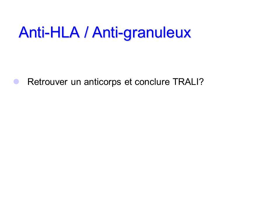 Retrouver un anticorps et conclure TRALI? Anti-HLA / Anti-granuleux