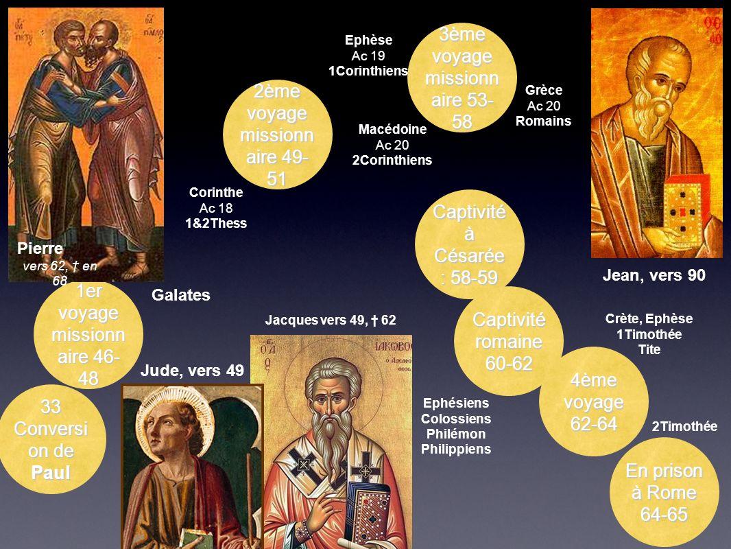 2ème voyage missionn aire 49- 51 Corinthe Ac 18 1&2Thess 3ème voyage missionn aire 53- 58 Ephèse Ac 19 1Corinthiens Macédoine Ac 20 2Corinthiens Grèce
