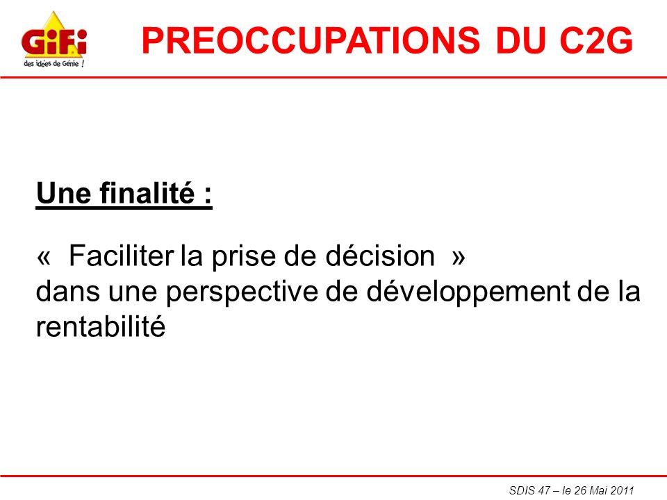 SDIS 47 – le 26 Mai 2011 Une finalité : « Faciliter la prise de décision » dans une perspective de développement de la rentabilité PREOCCUPATIONS DU C