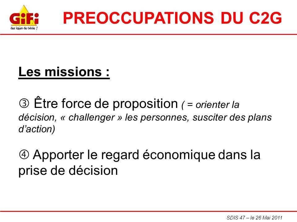 SDIS 47 – le 26 Mai 2011 Les missions : Être force de proposition ( = orienter la décision, « challenger » les personnes, susciter des plans daction)