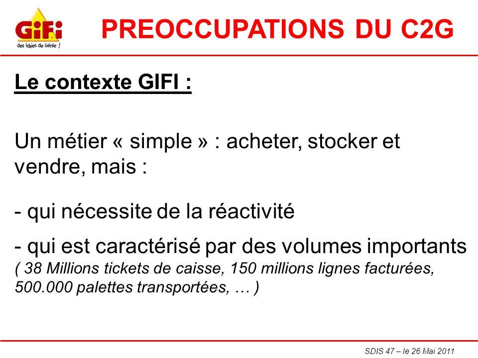 SDIS 47 – le 26 Mai 2011 Le contexte GIFI : Un métier « simple » : acheter, stocker et vendre, mais : - qui nécessite de la réactivité - qui est carac