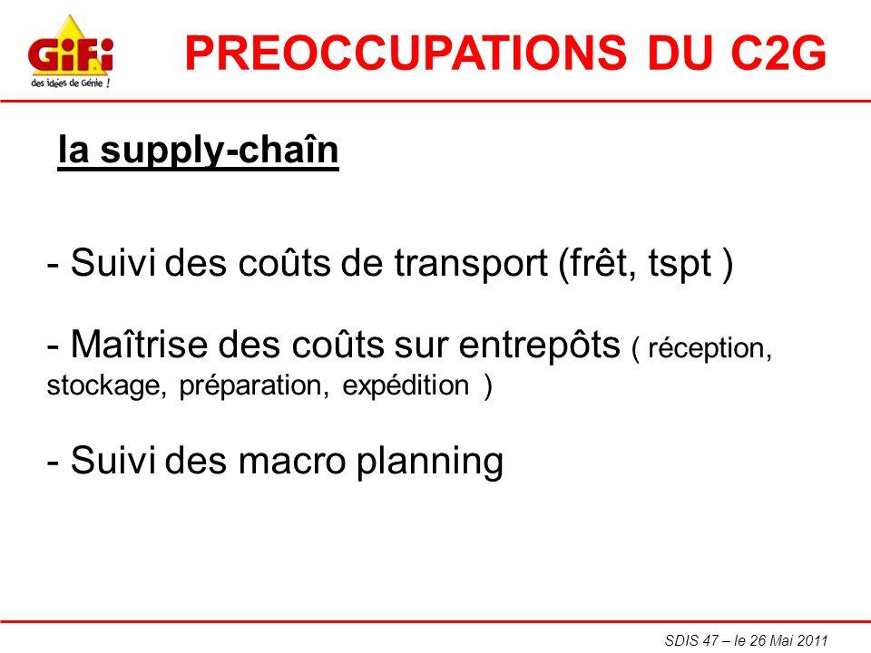 SDIS 47 – le 26 Mai 2011 la supply-chaîn - Suivi des coûts de transport (frêt, tspt ) - Maîtrise des coûts sur entrepôts ( réception, stockage, prépar