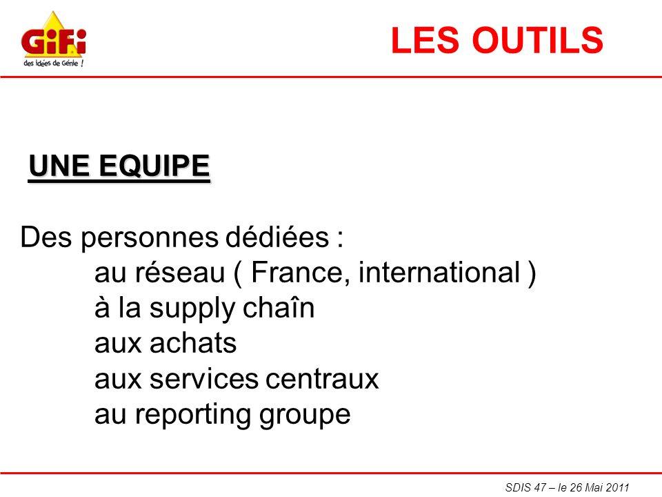 SDIS 47 – le 26 Mai 2011 UNE EQUIPE Des personnes dédiées : au réseau ( France, international ) à la supply chaîn aux achats aux services centraux au