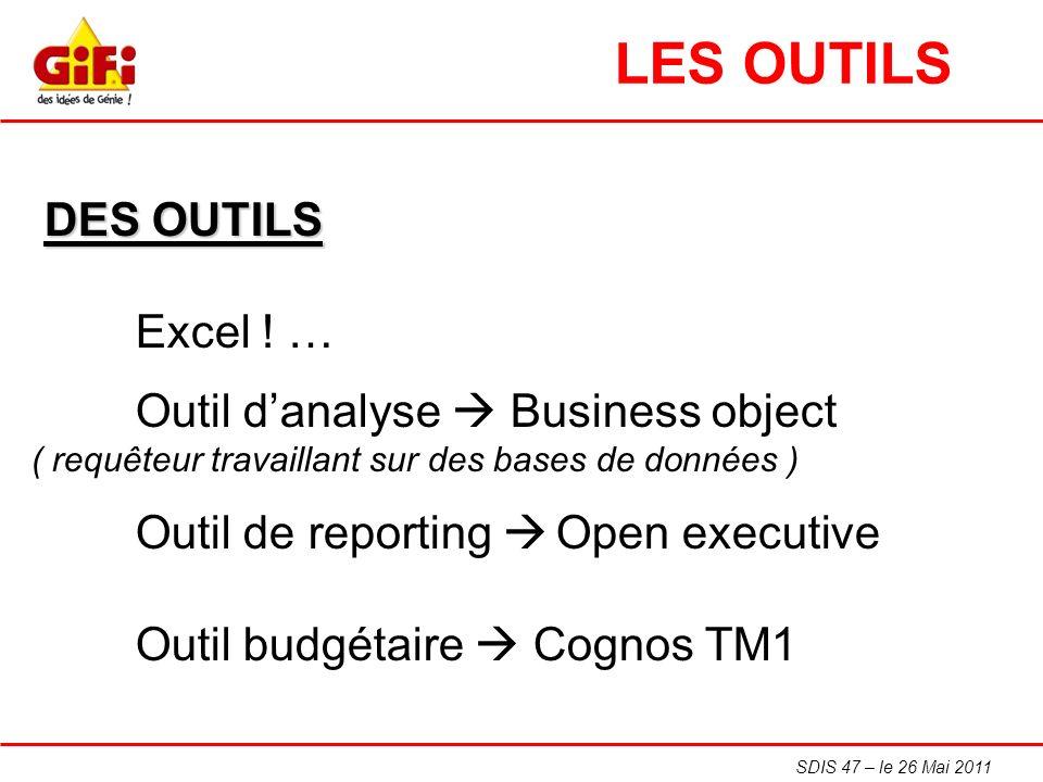 SDIS 47 – le 26 Mai 2011 DES OUTILS Excel ! … Outil danalyse Business object ( requêteur travaillant sur des bases de données ) Outil de reporting Ope