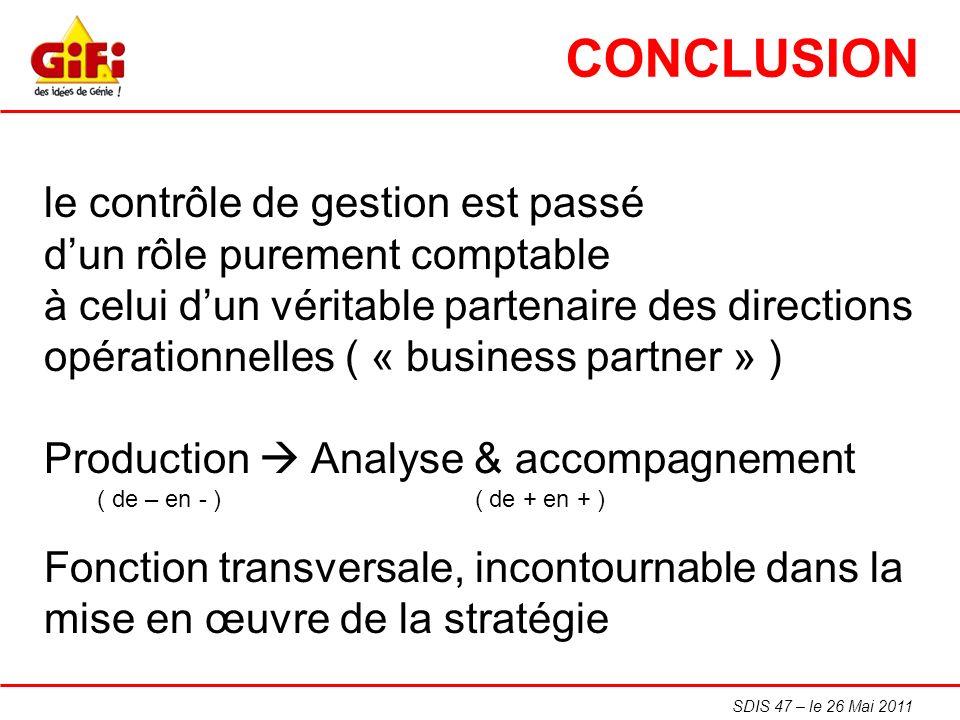 SDIS 47 – le 26 Mai 2011 CONCLUSION le contrôle de gestion est passé dun rôle purement comptable à celui dun véritable partenaire des directions opéra