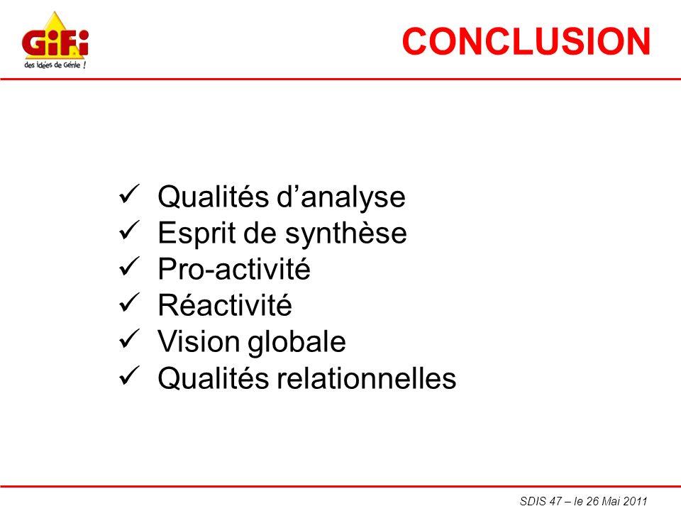 SDIS 47 – le 26 Mai 2011 CONCLUSION Qualités danalyse Esprit de synthèse Pro-activité Réactivité Vision globale Qualités relationnelles
