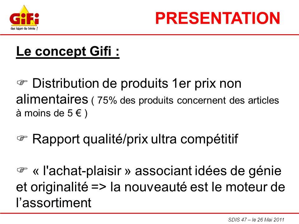 SDIS 47 – le 26 Mai 2011 Le concept Gifi : Distribution de produits 1er prix non alimentaires ( 75% des produits concernent des articles à moins de 5