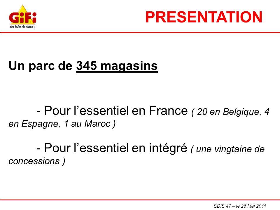 SDIS 47 – le 26 Mai 2011 Un parc de 345 magasins - Pour lessentiel en France ( 20 en Belgique, 4 en Espagne, 1 au Maroc ) - Pour lessentiel en intégré