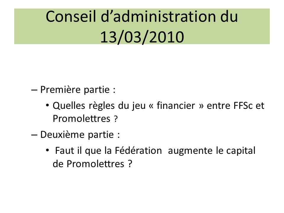 Conseil dadministration du 13/03/2010 – Première partie : Quelles règles du jeu « financier » entre FFSc et Promolettres ? – Deuxième partie : Faut il