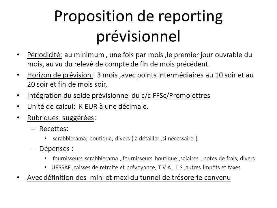 Proposition de reporting prévisionnel Périodicité: au minimum, une fois par mois,le premier jour ouvrable du mois, au vu du relevé de compte de fin de