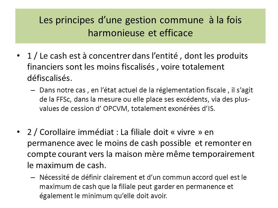 Les principes dune gestion commune à la fois harmonieuse et efficace 1 / Le cash est à concentrer dans lentité, dont les produits financiers sont les moins fiscalisés, voire totalement défiscalisés.
