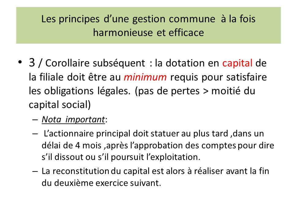 Les principes dune gestion commune à la fois harmonieuse et efficace 3 / Corollaire subséquent : la dotation en capital de la filiale doit être au minimum requis pour satisfaire les obligations légales.