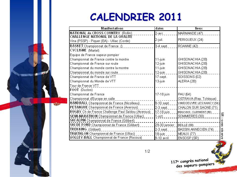 117 e congrès national des sapeurs-pompiers CALENDRIER 2011 1/2