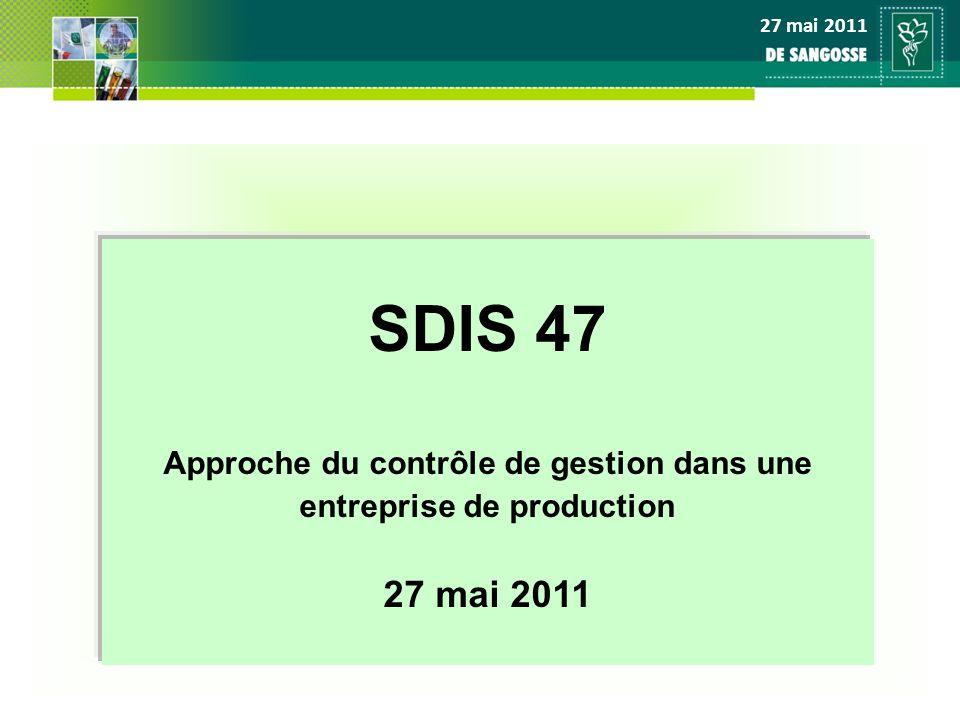 27 mai 2011 SDIS 47 Approche du contrôle de gestion dans une entreprise de production 27 mai 2011