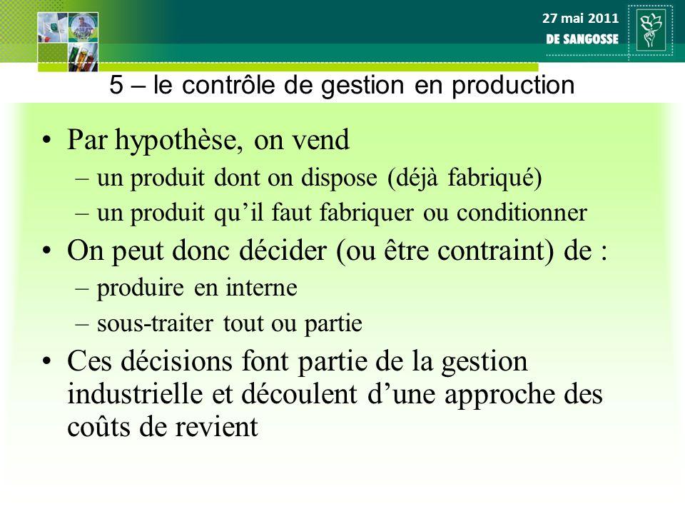 27 mai 2011 5 – le contrôle de gestion en production Par hypothèse, on vend –un produit dont on dispose (déjà fabriqué) –un produit quil faut fabrique