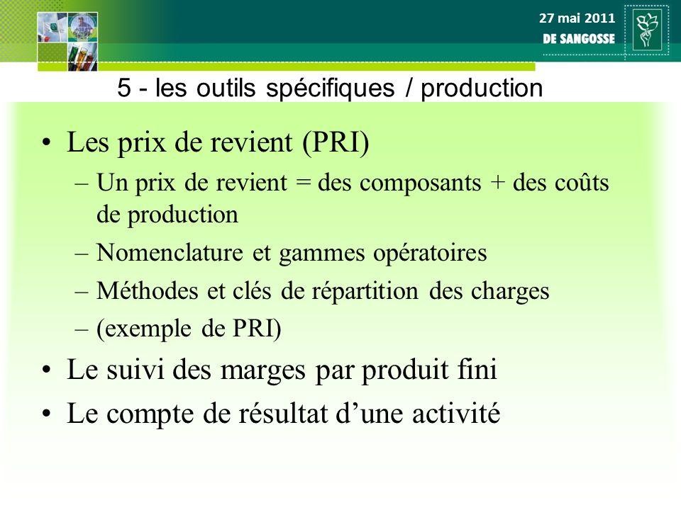 27 mai 2011 5 - les outils spécifiques / production Les prix de revient (PRI) –Un prix de revient = des composants + des coûts de production –Nomencla