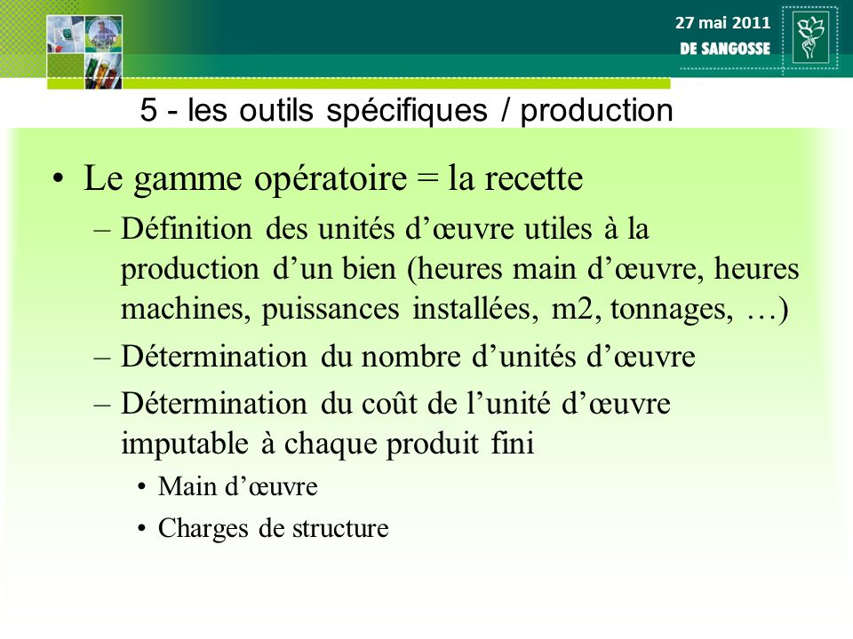 27 mai 2011 5 - les outils spécifiques / production Le gamme opératoire = la recette –Définition des unités dœuvre utiles à la production dun bien (he