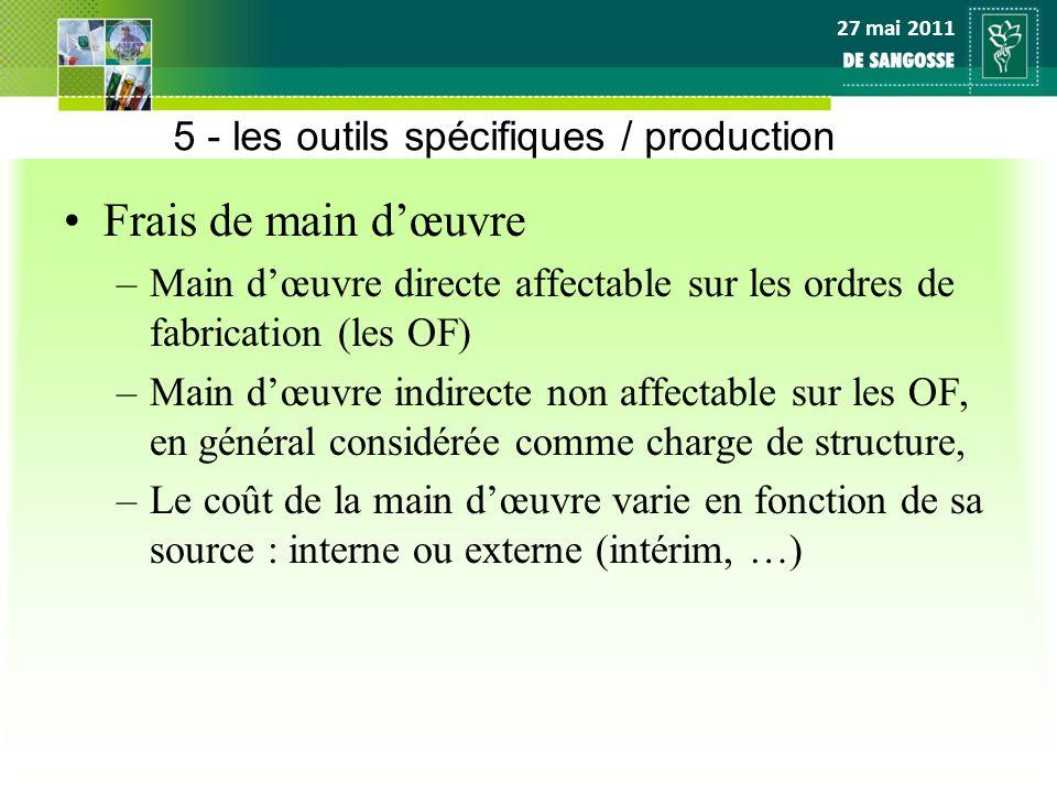 27 mai 2011 5 - les outils spécifiques / production Frais de main dœuvre –Main dœuvre directe affectable sur les ordres de fabrication (les OF) –Main