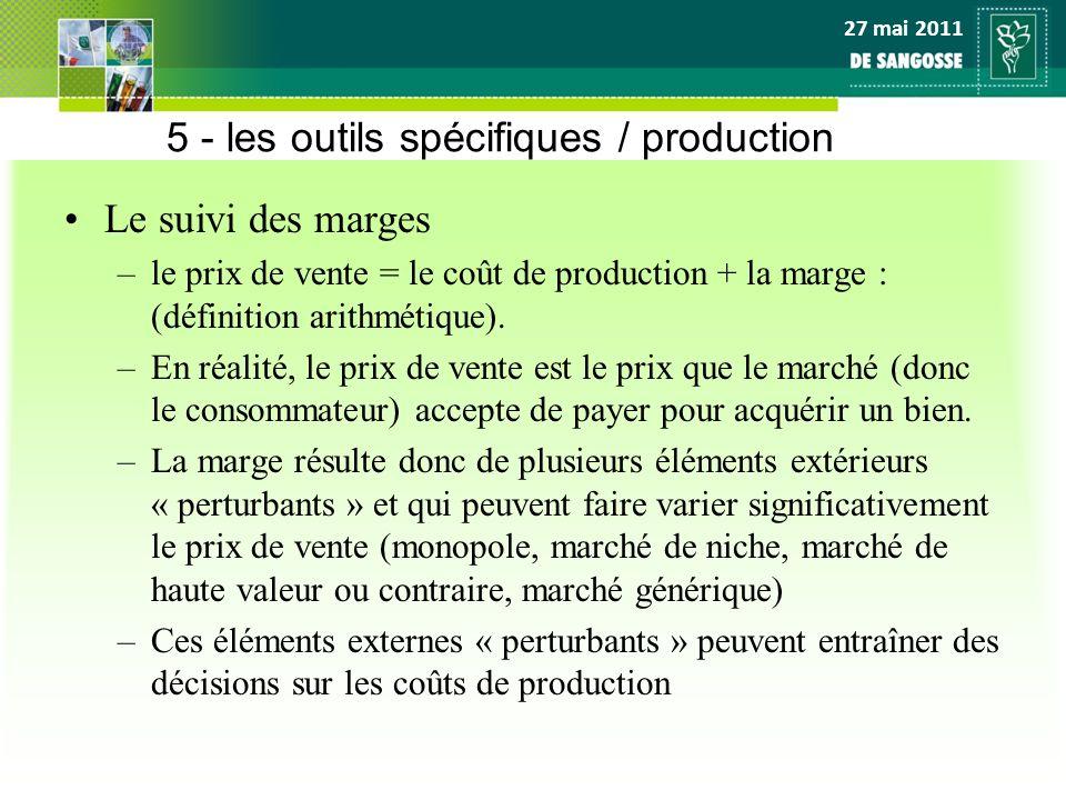 27 mai 2011 5 - les outils spécifiques / production Le suivi des marges –le prix de vente = le coût de production + la marge : (définition arithmétiqu