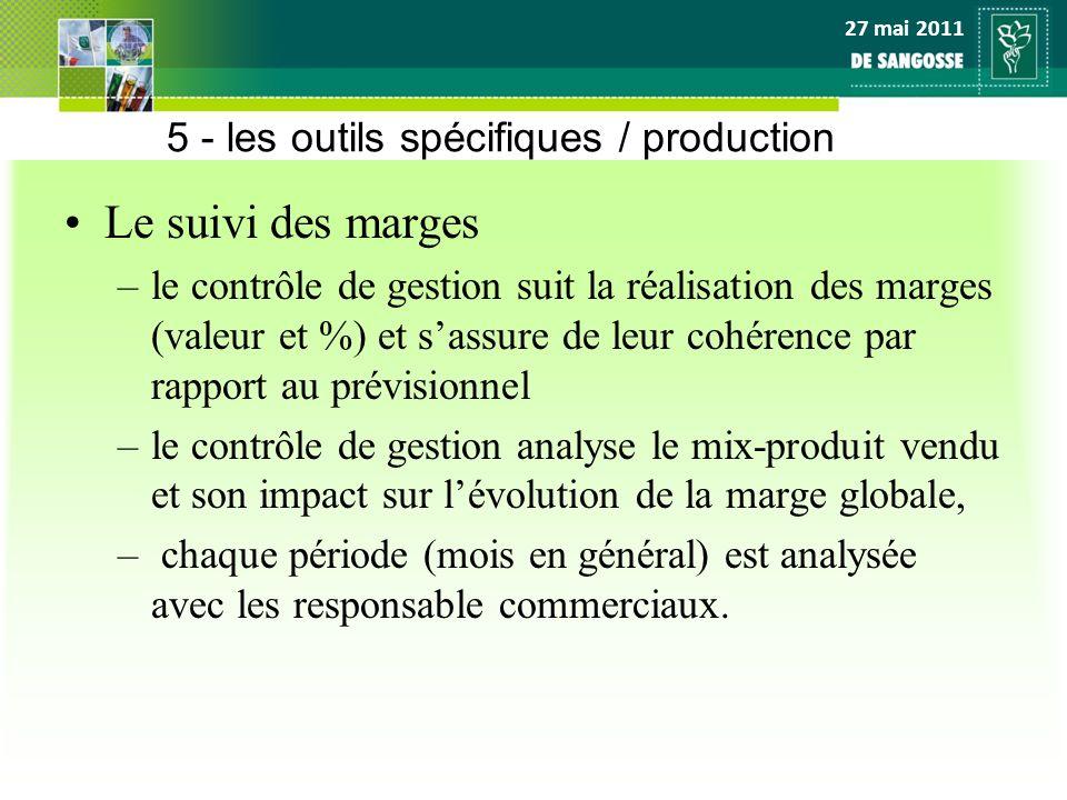 27 mai 2011 5 - les outils spécifiques / production Le suivi des marges –le contrôle de gestion suit la réalisation des marges (valeur et %) et sassur