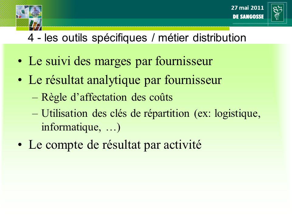 27 mai 2011 4 - les outils spécifiques / métier distribution Le suivi des marges par fournisseur Le résultat analytique par fournisseur –Règle daffect