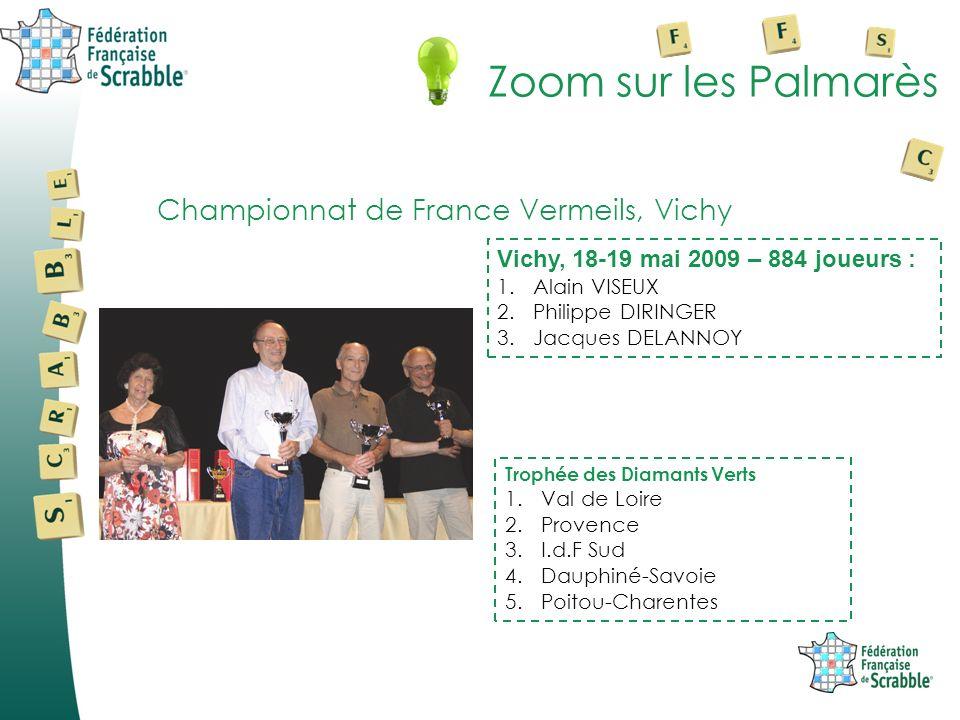 Zoom sur les Palmarès Championnat de France Vermeils, Vichy Trophée des Diamants Verts 1.Val de Loire 2.Provence 3.I.d.F Sud 4.Dauphiné-Savoie 5.Poito
