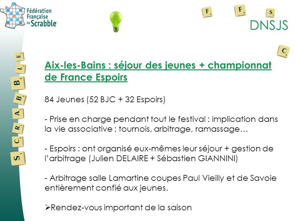 DNSJS Aix-les-Bains : séjour des jeunes + championnat de France Espoirs 84 Jeunes (52 BJC + 32 Espoirs) - Prise en charge pendant tout le festival : i