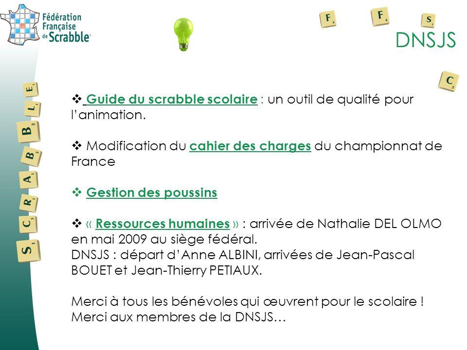 DNSJS Guide du scrabble scolaire : un outil de qualité pour lanimation. Modification du cahier des charges du championnat de France Gestion des poussi