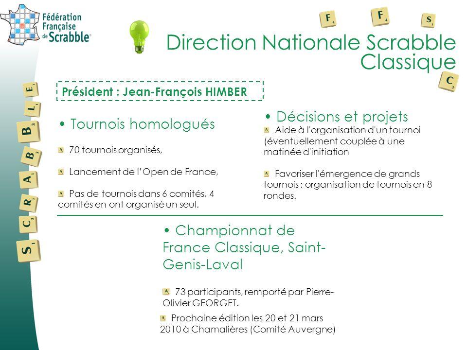 Direction Nationale Scrabble Classique Président : Jean-François HIMBER Tournois homologués 70 tournois organisés, Lancement de lOpen de France, Pas d