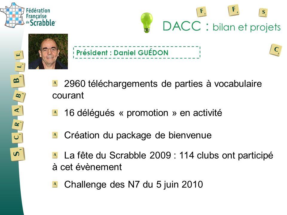 DACC : bilan et projets 2960 téléchargements de parties à vocabulaire courant Président : Daniel GUÉDON La fête du Scrabble 2009 : 114 clubs ont parti
