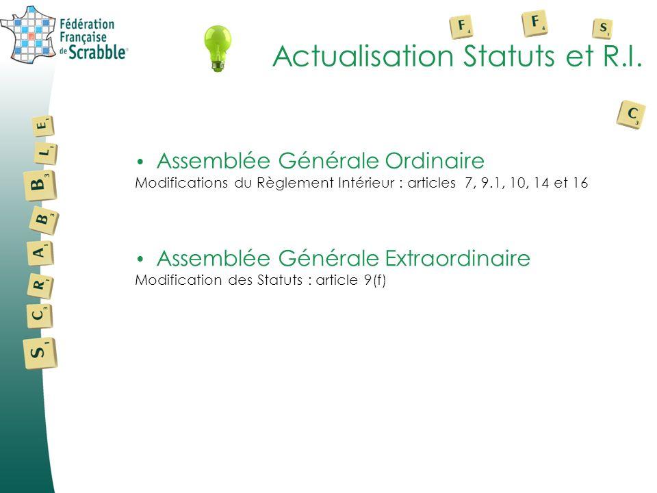 Actualisation Statuts et R.I. Assemblée Générale Ordinaire Modifications du Règlement Intérieur : articles 7, 9.1, 10, 14 et 16 Assemblée Générale Ext
