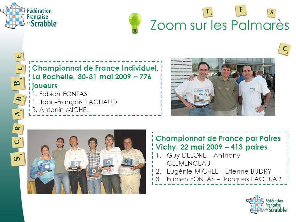 Zoom sur les Palmarès Championnat de France Individuel, La Rochelle, 30-31 mai 2009 – 776 joueurs 1. Fabien FONTAS 1. Jean-François LACHAUD 3. Antonin