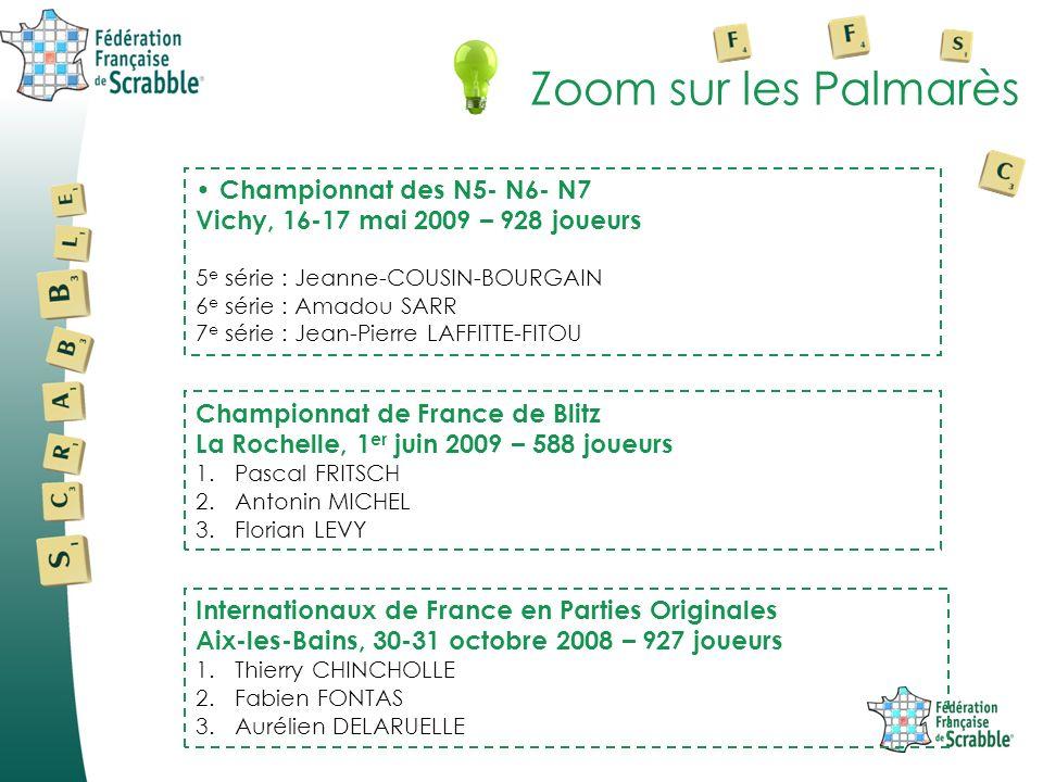 Zoom sur les Palmarès Championnat des N5- N6- N7 Vichy, 16-17 mai 2009 – 928 joueurs 5 e série : Jeanne-COUSIN-BOURGAIN 6 e série : Amadou SARR 7 e sé
