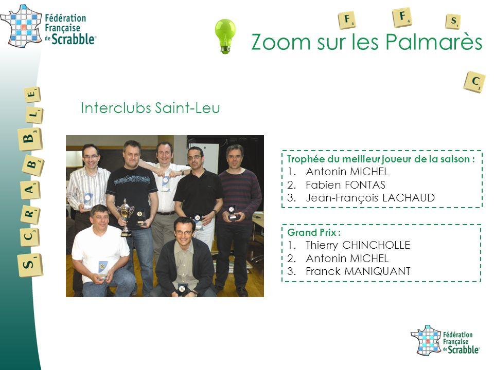 Zoom sur les Palmarès Interclubs Saint-Leu Trophée du meilleur joueur de la saison : 1.Antonin MICHEL 2.Fabien FONTAS 3.Jean-François LACHAUD Grand Pr