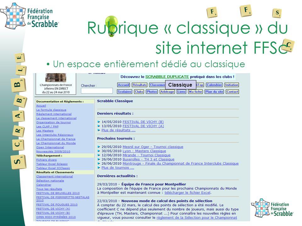 Un espace entièrement dédié au classique Rubrique « classique » du site internet FFSc Classique
