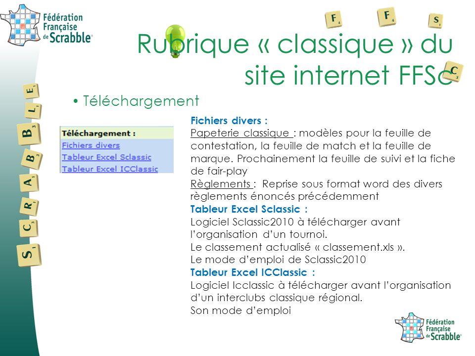 Téléchargement Rubrique « classique » du site internet FFSc Fichiers divers : Papeterie classique : modèles pour la feuille de contestation, la feuille de match et la feuille de marque.