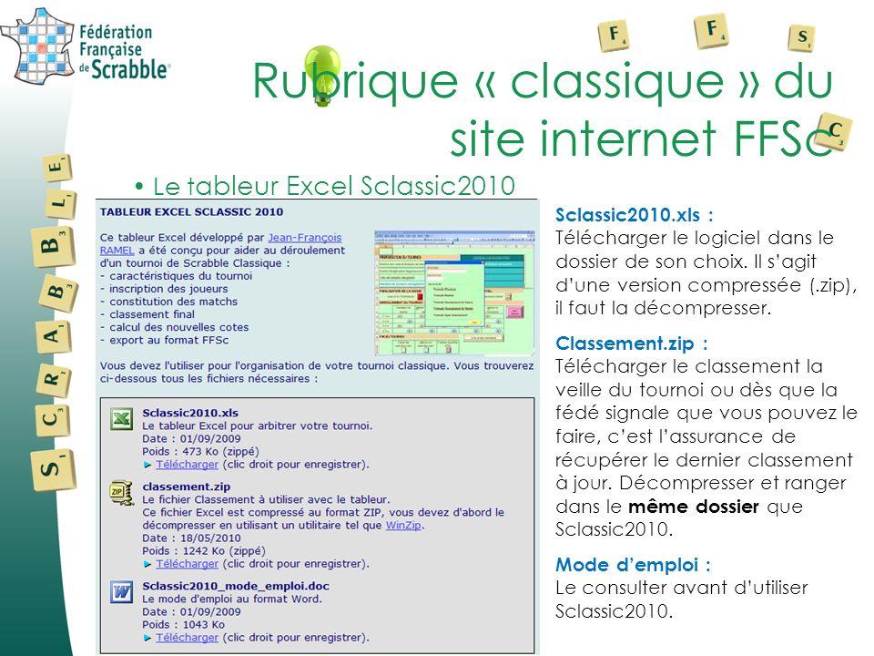 Sclassic2010.xls : Télécharger le logiciel dans le dossier de son choix.