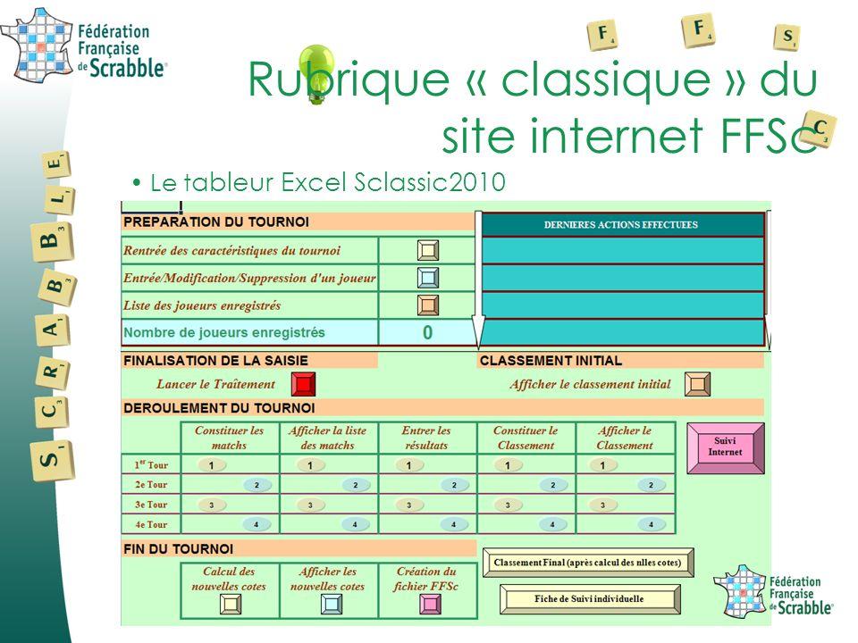 Le t ableur Excel Sclassic2010 Rubrique « classique » du site internet FFSc